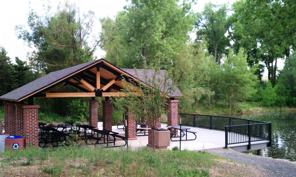 Shelter and fishing dock at Fly 'N B Park, Highlands Ranch, CO