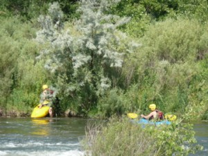 kayakers in south platte river - littleton co