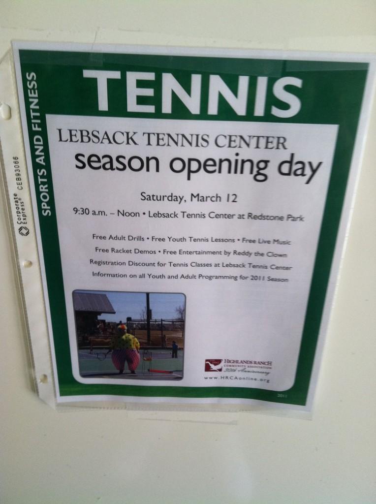 Redstone Park tennis opening flyer