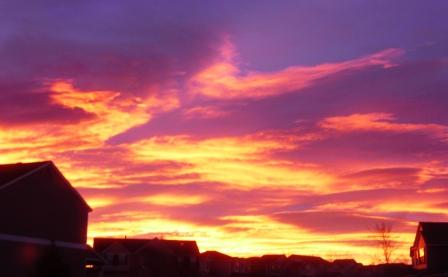 sunrise in Highlands Ranch neighborhood